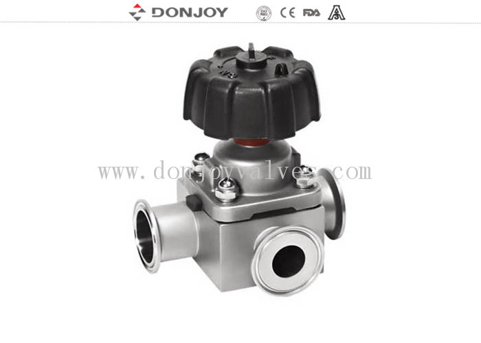 1 inch - 4 inch  Manual T type tee sanitary diaphragm valve with Clamp Ends 316L