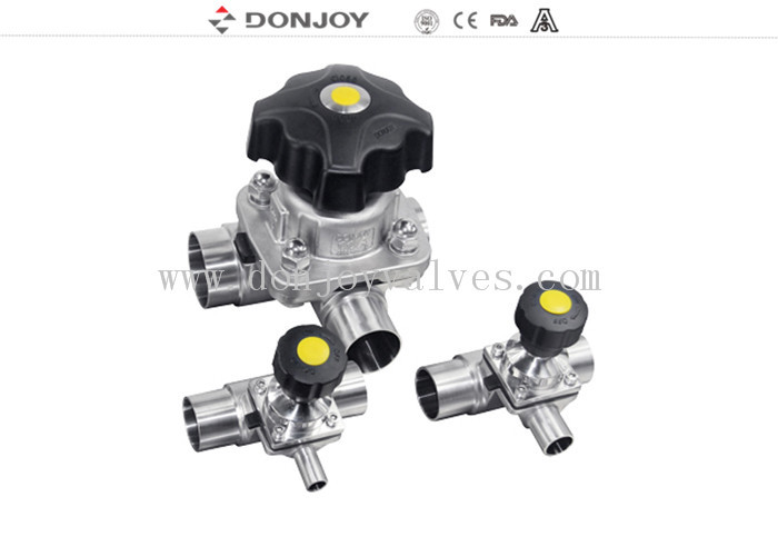 SS 316L 1 INCH Three-way Manual Diaphragm Valve for Fluid Control Clamp Ends