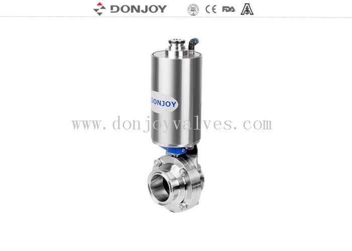 Pneumatic Operation Sanitary Butterfly Valves with Clamped Ends
